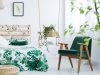 Bedroom with kale green armchair