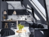 Modern open-plan apartment in attic, loft style, 3d render