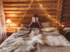 Cozy winter weekend in log cabin