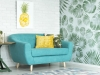 Turquoise couch in sitting room